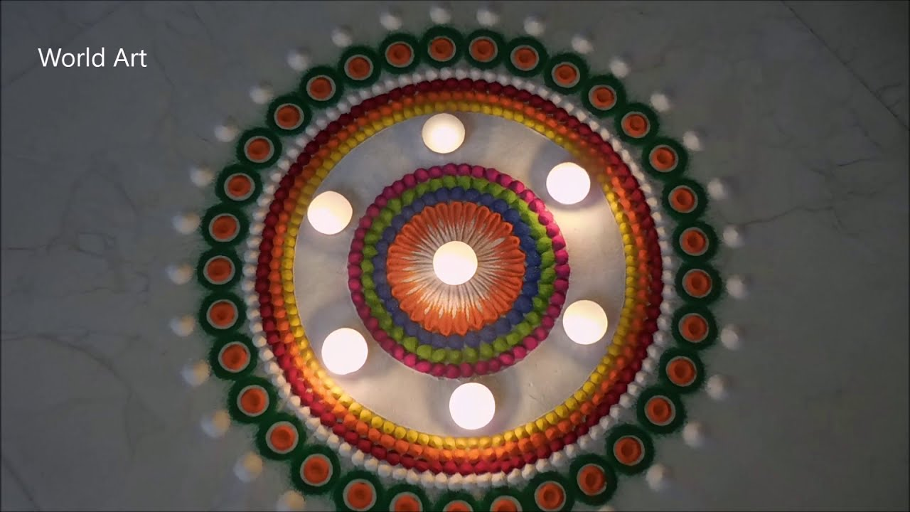 easy festival rangoli design by world art