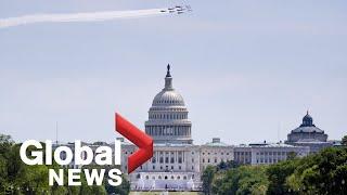 Coronavirus outbreak: Blue Angels, Thunderbirds flyover Washington, D.C. tribute to health workers