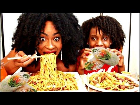 MUKBANG: BEEF LO MEIN & SPRING ROLLS! EAT WITH US! YUMMYBITESTV