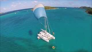 preview picture of video 'Christmas Vacation! Spinnaker Flying Aboard Double A at Prickly Pear, BVI'