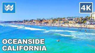 Oceanside Beach Pier In San Diego County, California USA - Walking Tour - 2020 Travel Guide  🎧【4K】