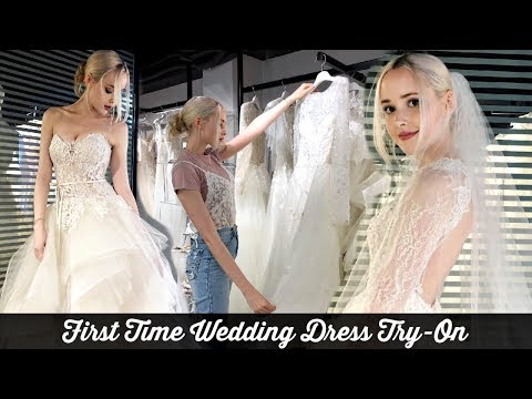 TRYING ON WEDDING DRESSES FOR THE FIRST TIME