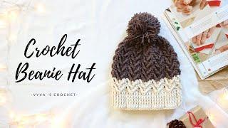 Crochet Beanie Hat| Hướng Dẫn Móc Mũ Len Họa Tiết Bím Tóc #2 | Vyvascrochet