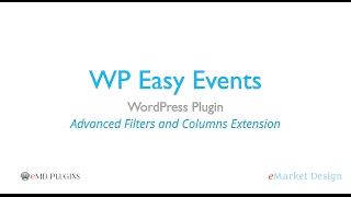 WP Easy Events WordPress Plugin – Advanced Filters and Columns Extension