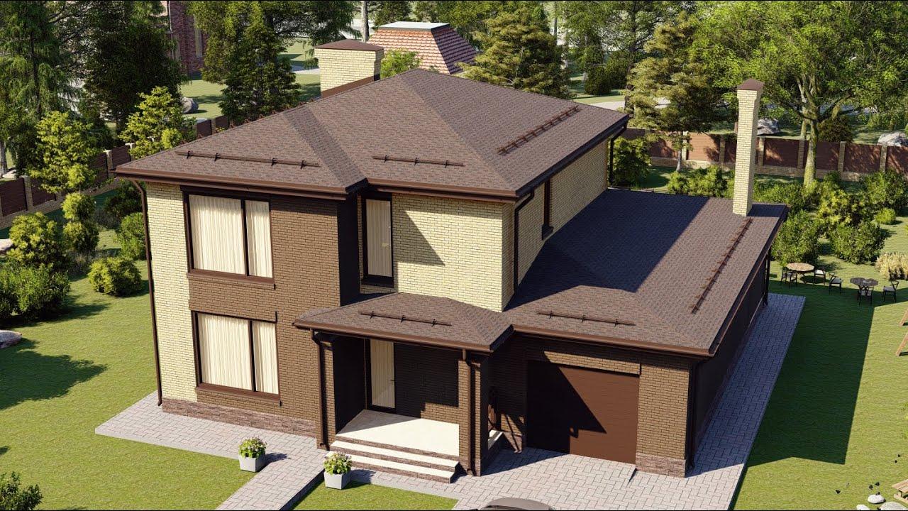 Проект 2-х этажного дома с большой террасой и гаражом на 1 авто 189 м2
