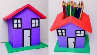 PENCIL HOLDER - DIY Desk Organizer | Make A Pencil House Cardboard Tutorial |