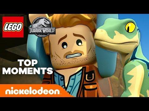 LEGO Jurassic World 🦖 Best 7 Scenes from Part 1! | Nick