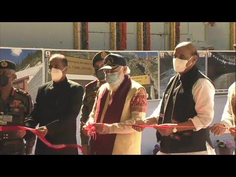 Himachal Pradesh: Prime Minister Narendra Modi inaugurates Atal Tunnel at Rohtang.
