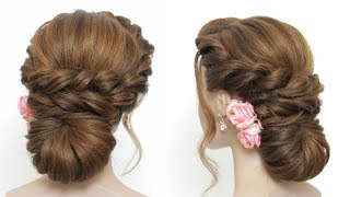Easy Bridal Hairstyle For Long Hair. Simple Updo Tutorial