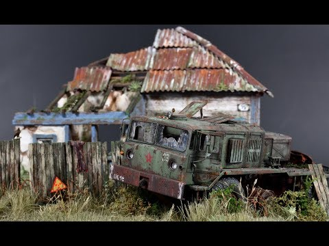Post-apocalyptic Diorama Pripyat Chernobyl - 1/72 Model
