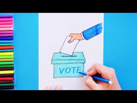 How to draw Voting - Ballot Box and Vote
