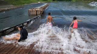 栃木県茂木町那珂川大瀬の観光やな鮎のやな漁2017/8月26日