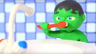 KIDS WASHING TEETH BEFORE GOING TO SCHOOL ❤ PLAY DOH CARTOONS FOR KIDS
