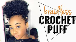 How To: Braidless Crochet High Puff + Rubberband Method Parts | Quick Back To School Style