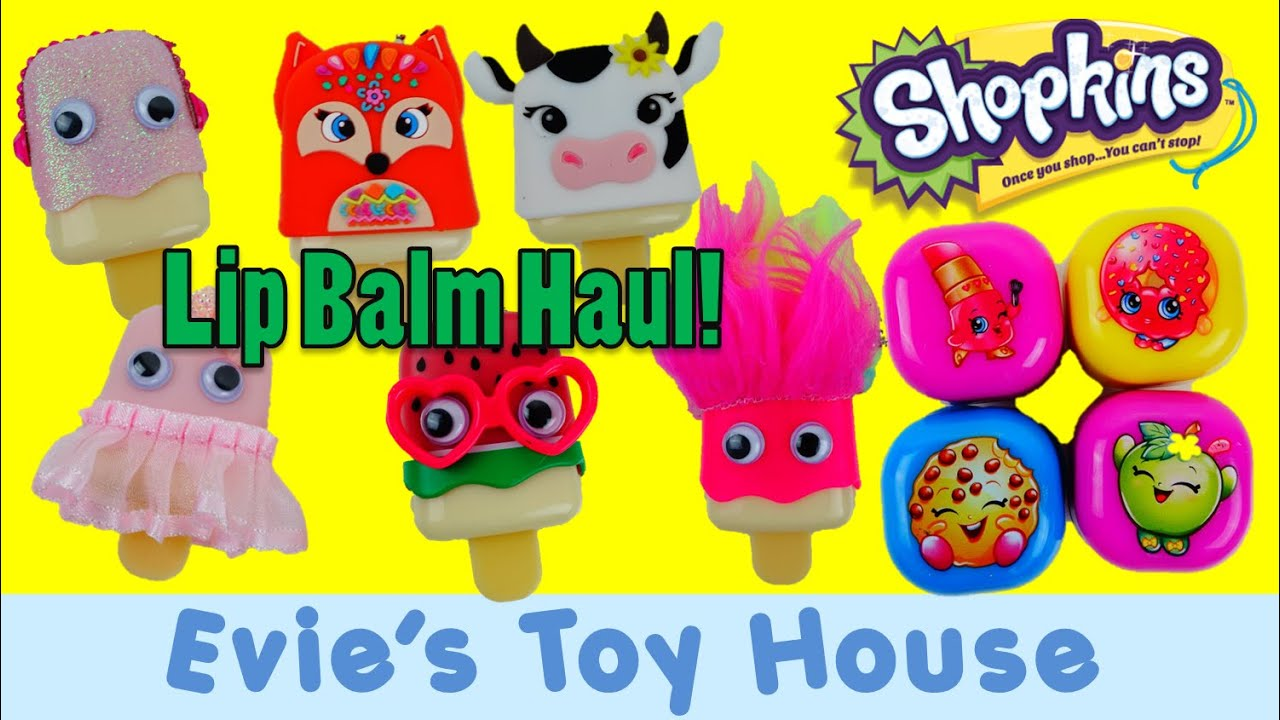 HUGE Shopkins Lip Balm and Claire's Pucker Pops Lip Gloss Haul | Evies Toy House