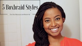 How I Style Box Braids for Work | 5 Easy Professional Looks for the Work Week