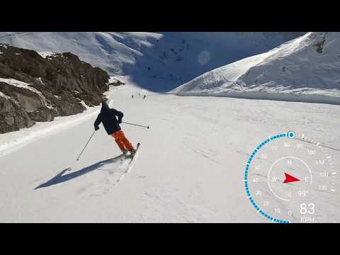 The Sarenne (Alpe d'Huez 2019) in 4k skiing over 100 KPH. longest black run in Europe.