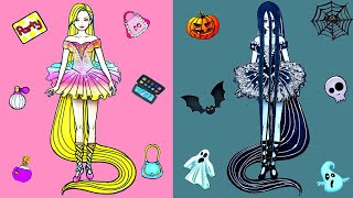 Paper Dolls Dress Up - Ballerina Rapunzel Sadako Dresses Handmade Quiet Book - Barbie Story & Crafts
