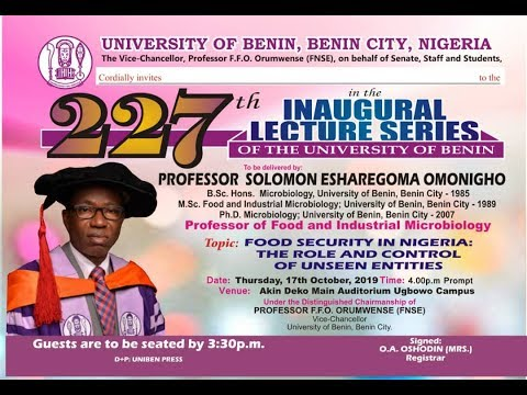 Watch the 227th Inaugural Lecture Series