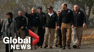 President Donald Trump visits areas affected by the California wildfires