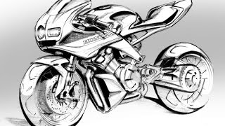 How To Sketch A HONDA Sports Bike - Time Lapse Sketch Art