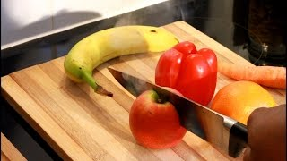 EXPERIMENT GLOWING 1000 Degree KNIFE VS FRUITS AND VEGETABLES
