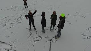 Ice skating on a frozen lake   DJI Phantom 4 Drone Video