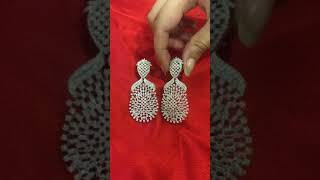 IGI Certified 14 K / 585 White Gold Diamond Long Chandelier Earrings