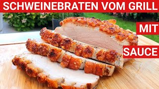 ♨️ GRILLBLITZ: Schweinebraten Krustenbraten mit Sauce vom Grill, Schweinsbraten grillen knusprig BBQ