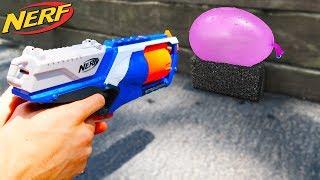 nerf vs water balloon!!
