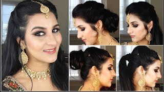 6 QUICK AND EASY 1 MIN  INDIAN WEDDING GUEST /RECEPTION HAIRSTYLES.MAANG TIKKA HAIRSTYLES