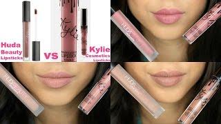 Kylie Cosmetics Vs Huda Beauty Liquid Lipsticks  Lip Swatche & Comparison