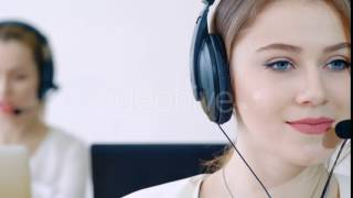 Call Centre And Technology Concept - Female Helpline Operator With Headphones | VideoHive 15381943