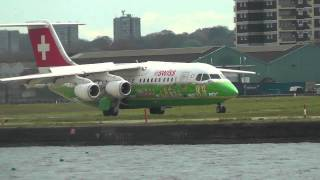 preview picture of video 'Planes at London City Airport - 28th April 2013'
