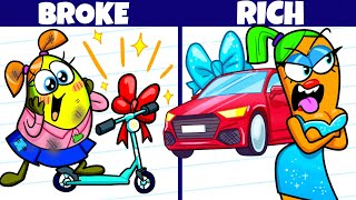 RICH STUDENTS VS BROKE STUDENTS || Funny Situations At School By  Avocado Couple