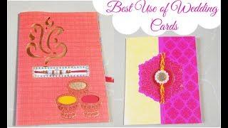 Best Use of Marriage/Wedding Cards/DIY Easy Rakhi Card for Brother/Raksha Bandhan Card Making Ideas