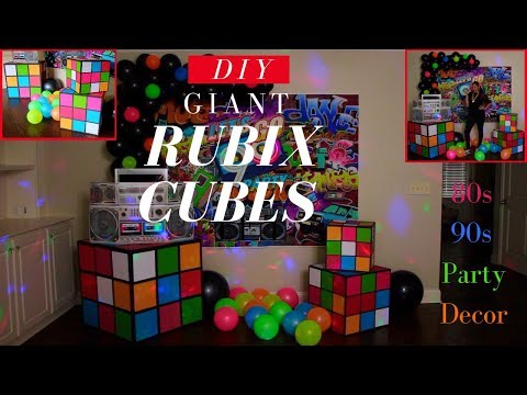 Giant Rubix Cubes DIY | 80s 90s Party Decoration Ideas | Dollar Tree DIY