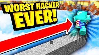 THE WORST HACKER EVER... (Minecraft Skywars)