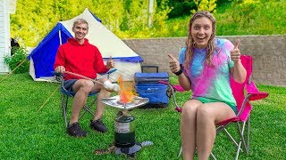 Camping 24 Hours Overnight Challenge in Our Backyard!! (Haunted Monster Spotted)