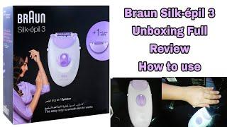 Braun Silk-épil 3 Epilator 3170 unboxing full review price. How to use Braun Silk-epil3 White/Purple