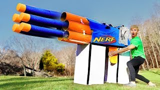 WORLDS BIGGEST CARDBOARD NERF GUN!! (EXTREME POWER) - Video Youtube