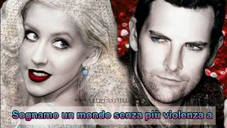 Christina Aguilera Duet with Chris Mann - The Prayer with LYRICS on screen