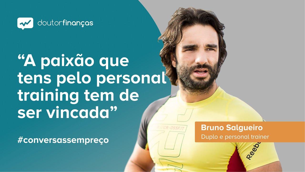 Imagem de um pc portátil onde se vê o programa Conversas sem Preço com a entrevista a Bruno Salgueiro, duplo profissional e personal trainer