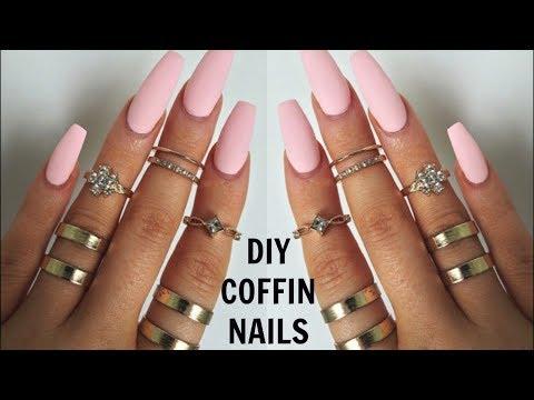 DIY PROFESSIONAL COFFIN NAILS $6 | EASY LONG LASTING NAILS AT HOME