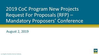 2019 CoC Program New Projects RFP Mandatory Proposers' Conference