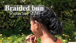 Braided Bun Protective Style | W/ Marley Hair