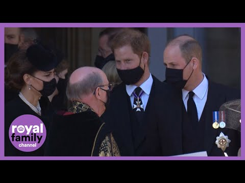 Prince Harry & Prince William Seen Chatting While Leaving Funeral Side-by-Side (Video)