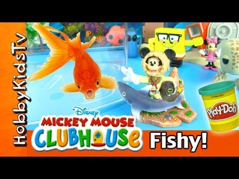 Mickey Mouse Dives in Fish Tank! Surprise Sea Eggs HobbyKidsTV