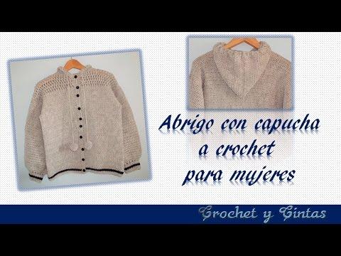 DIY ♥ Abrigo con capucha para mujeres tejido a crochet  con punto puff - Parte 1