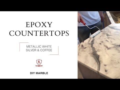 DIY Epoxy Countertops in Metallic White, Silver and Coffee